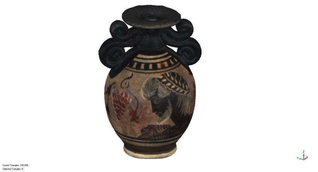 Vase grec (10cm) scannérisé par un système professionnel à lumière structurée