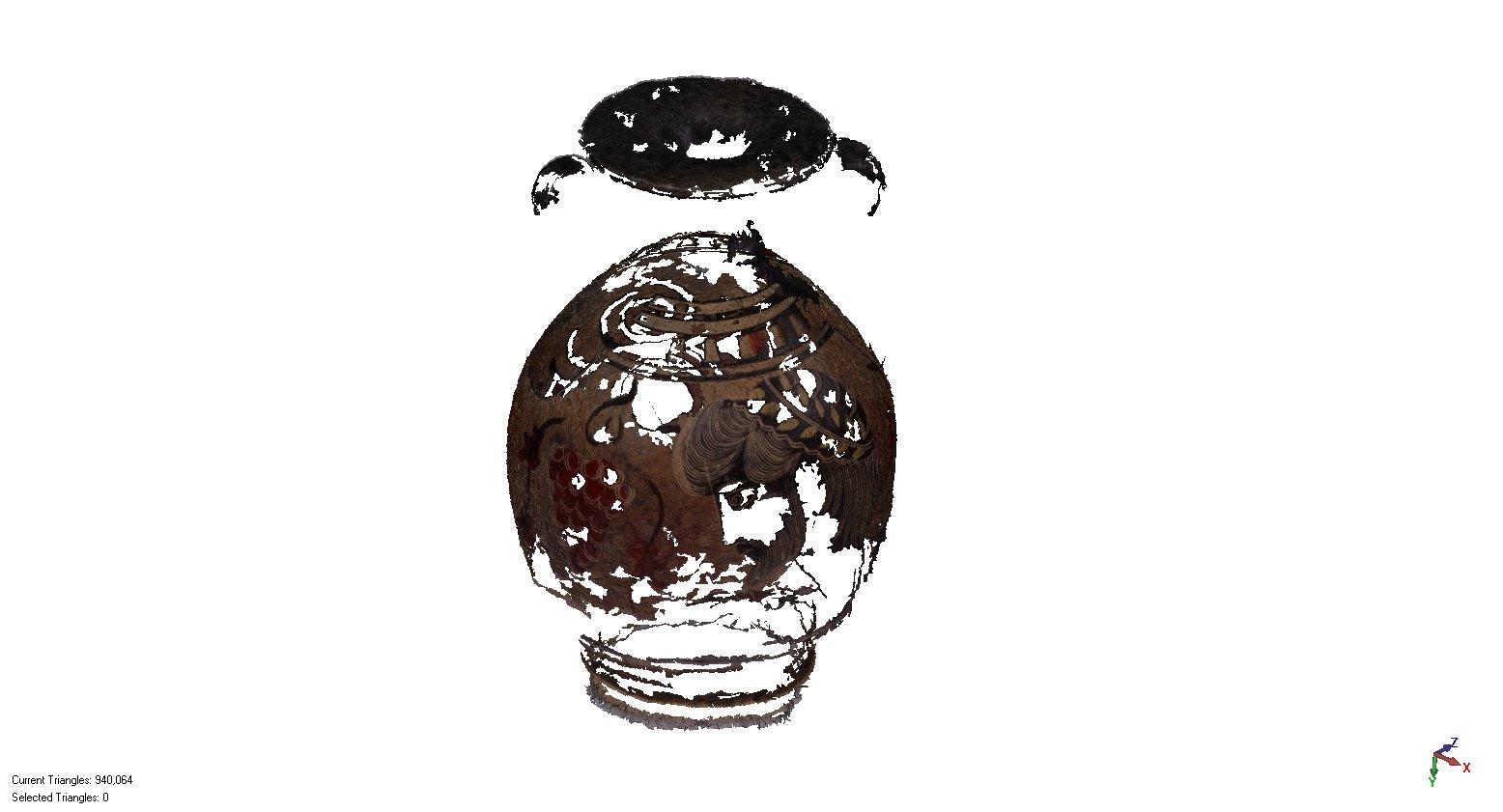 Modèle 3D d'un vase grec antique numérisé par photogrammétrie