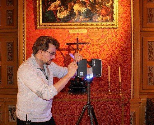 Scan 3D d'une pièce de château avec le scanner laser FARO - Digitage