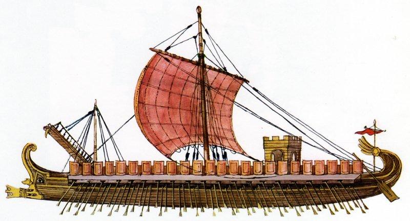 une galère romaine, conçue après rétro-ingénierie d'une birème phénicienne