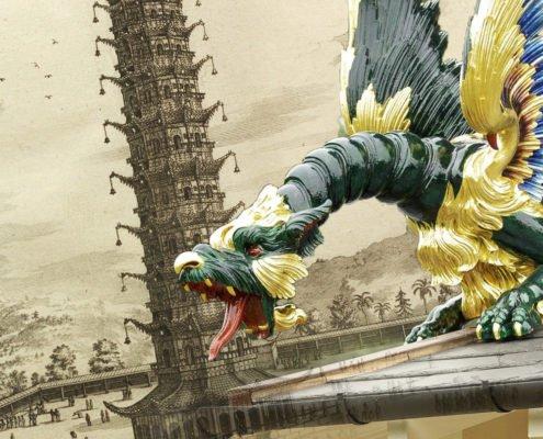 les dragons de la pagode du jardin botanique royal de londres, ont retrouvé la vie grâce aux techniques de scan 3D et d'impression 3D