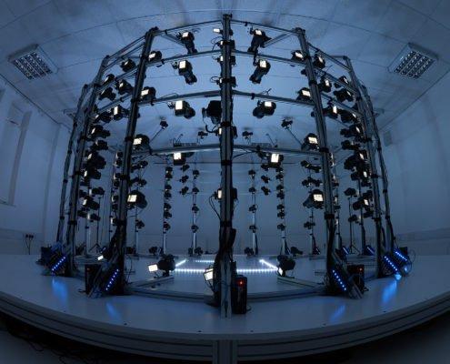 exemple d'un studio de body scan 3D, avec ses nombreux appareils photos permettant d'obtenir un rendu en 3 dimensions et ultra détaillé