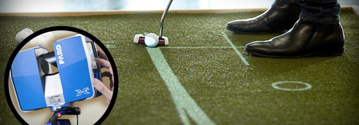 une fois le terrain de golf passé au scan 3D, on le modélise pour en faire un entrainement en réalité augmentée