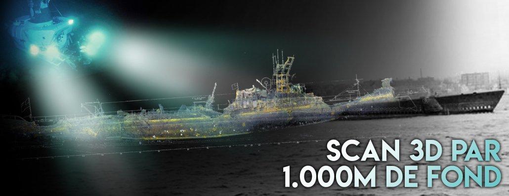 un scan 3d de sous marin a été réalisé par une équipe d'ingénieurs à 1000m de profondeur sur l'USS Grunion