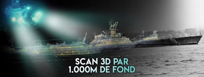 l' USS Grunion a été retrouvé au fond de l'océan et est modélisé grâce au scan 3D